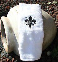 Personalized Embroidered Black Fleur De Leis White Hand Towel 100% Cotton Lombs