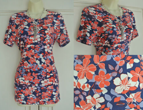 New Blue White Coral Pink Hibiscus Ditsy Floral Print Summer Stretch Top 8-16