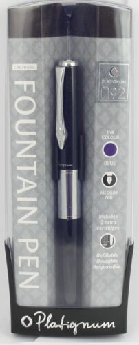 Platignum Number 2 Fountain Pen BLACK New Gift Boxed