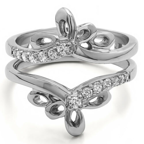 0.3tw Sterling Silver Fancy Chevron Filigree Ring Guard