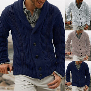 Men-039-s-Chunky-Collar-Cardigan-Sweater-Buttons-Knitted-Jumper-Coat-Jackets-Tops
