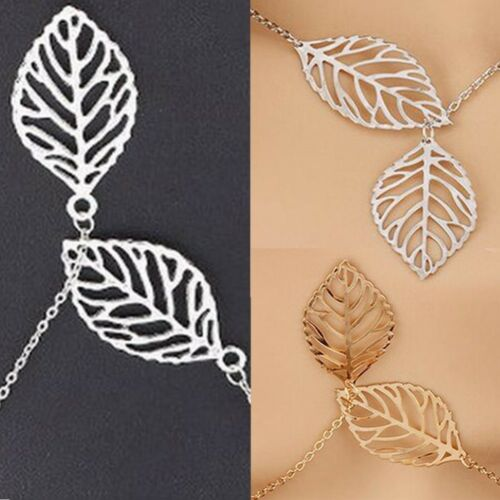 Womens Girls Silver Gold Double Leaf Pendant Necklace Fashion Jewellery UK Stock