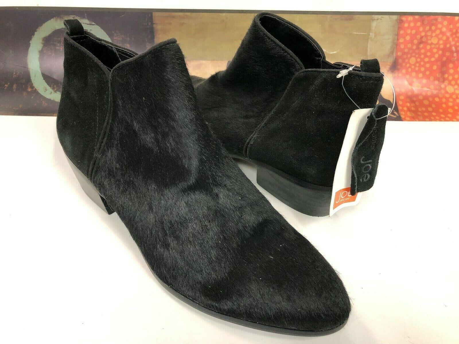 JOE FRESH BLACK GENUINE PONY FUR FLAT BOOTS SIZE 9 N Fashion NWOB