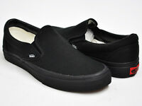 Vans Classic Slip On All Black Unisex Sneakers Canvas Shoes New