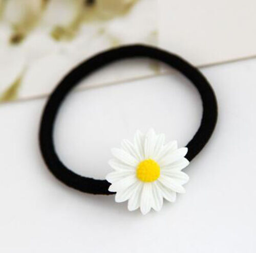 Women Daisy Elastic Rubber Hair Ties Band Rope Hairpin Hair Clip Ponytail Holder