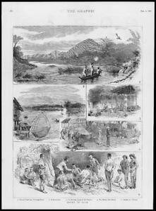 1886-Antique-Print-SIAM-Thailand-Sports-Peacock-Shooting-Ratchburee-238