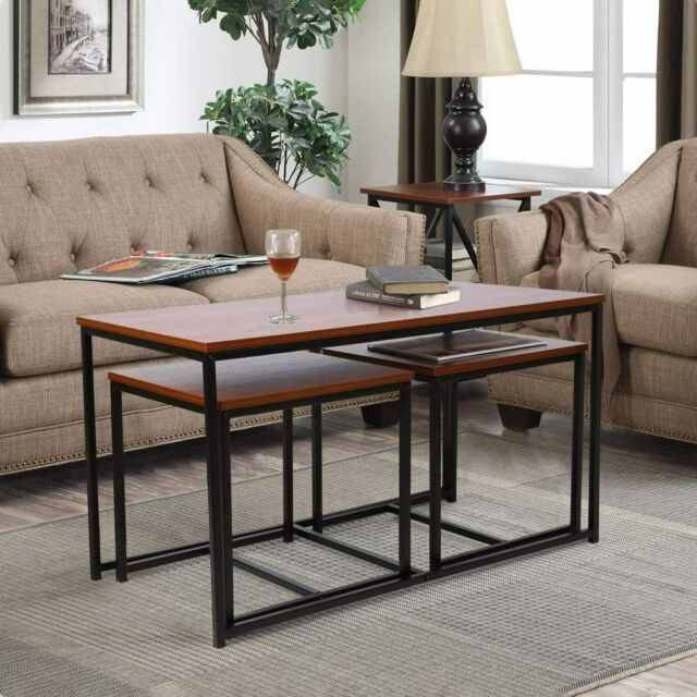 Nesting Coffee Table Sets Of 3 Stacking End Side Tables Living Room Home Office For Sale Online Ebay