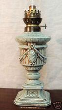 Lampe à pétrole au pied en faïence couleur céladon (bleu vert), circa 1900