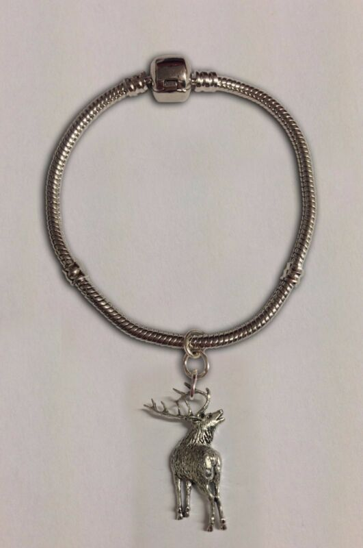 Code A70 Stag Charm On A Silver Rhodium Plated Snake Bracelet