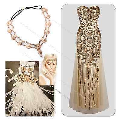 Flapper 1920s Dress Great Gatsby Headband Party Evening Fancy Costume Size 4-16