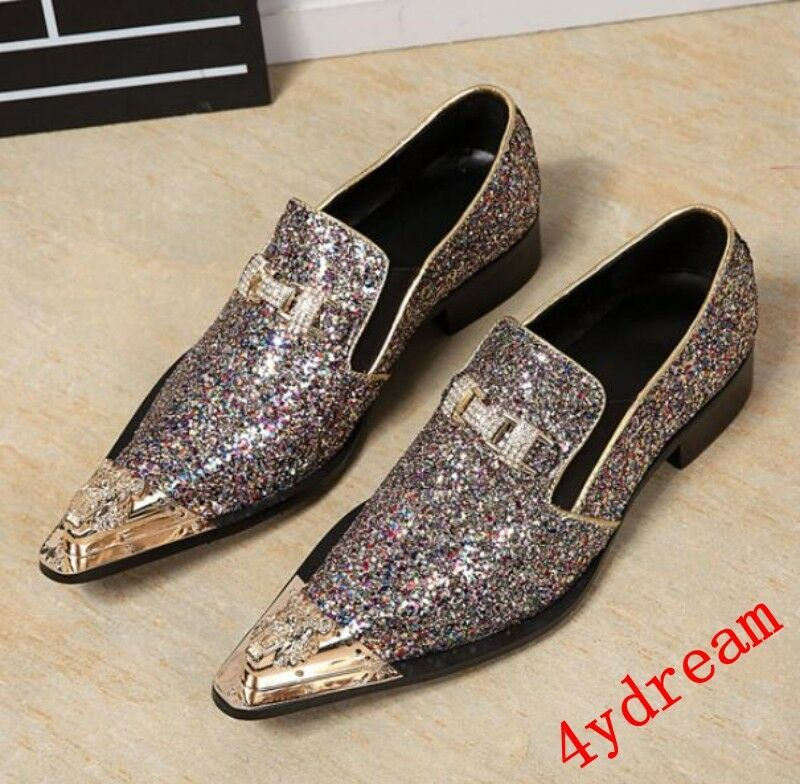 Mens Pointy Toe Metal Toe Rhinestone Oxfords Loafer Dress Formal Wedding shoes