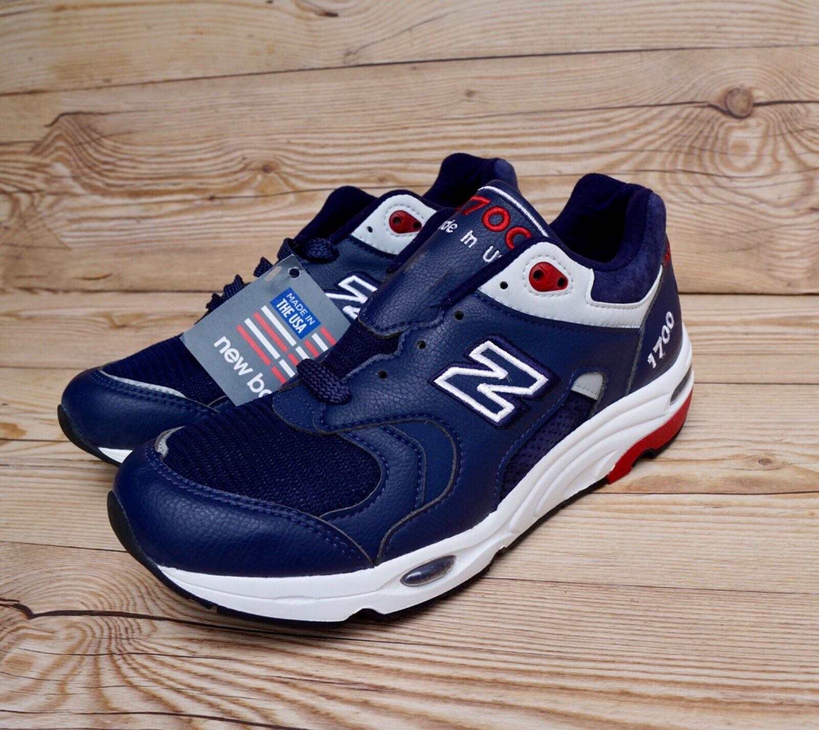 New Balance 1700 Made In USA Navy White Red Men's Size 7 Women's Size 8.5 New