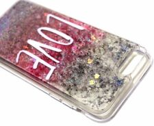 For iPhone 7 PLUS 8 PLUS - Silver Glitter Love Hearts Liquid Water Case Cover