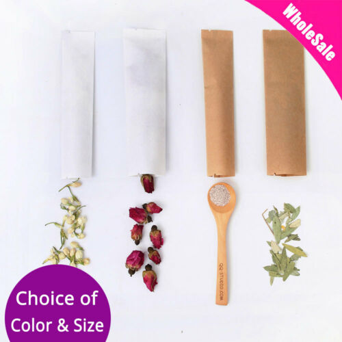 Multi-Color /& Size Kraft Paper Mylar Open Top Pouch Bag For Coffee Tea Spices M2