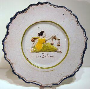 Plate-Earthenware-in-Relief-End-19th-Decor-Zodiac-La-Balance-Edge-Fretwork