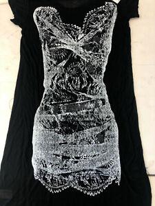 NWT-WOMEN-039-S-BCBG-MAXAZRIA-Knit-Dress-Long-tee-shirt-dress-top-in-BLK-amp-WHT-XXS-S