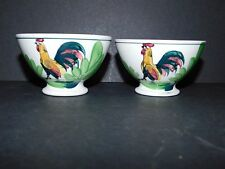 TWO ST AMAND HAMAGE NORD FRANCE SMALL HANDPAINTED COCKEREL DESIGN BOWLS
