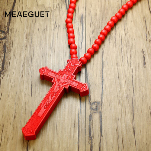 Men Necklace Wood Catholic Jesus Cross Bead Carved Rosary Long Collier Pendant