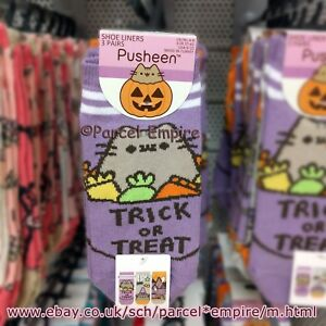 Pusheen-The-Cat-Official-HALLOWEEN-Socks-TRICK-OR-TREAT-Shoe-Liners-Primark-Girl