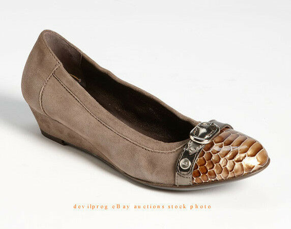 NEW AGL ATTILIO GIUSTI Belt Wedge Pump EUR 36.5 US 6.5 Beige grau Snake Patent
