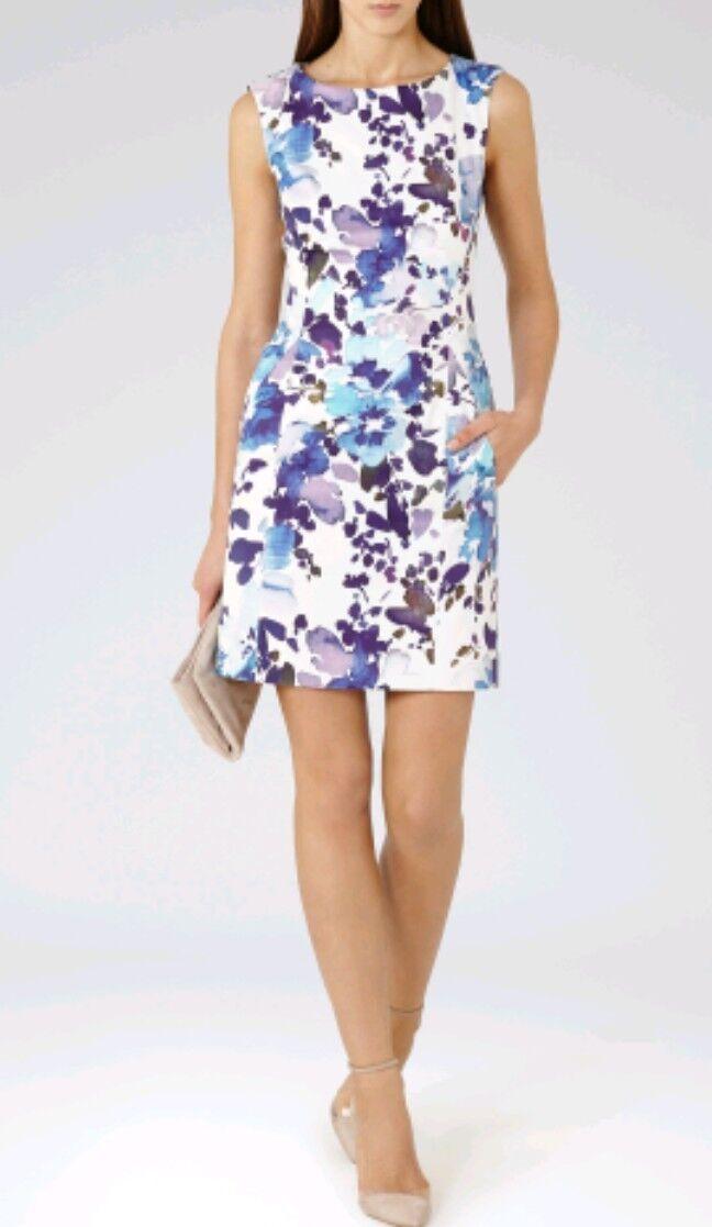 Designer REISS Juna Robe taille 6 -- utilisé une fois -- Imprimé Floral Coton Mélangé Doublé