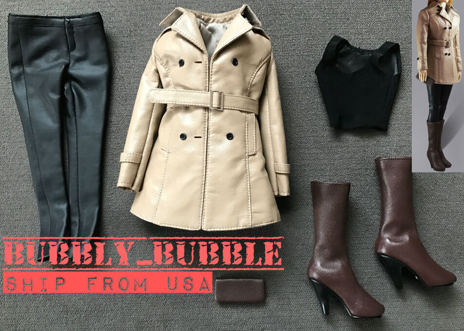 1 6 Women Leather Trench Coat Set BEIGE For Phicen Hot Toys Figure SHIP FROM USA