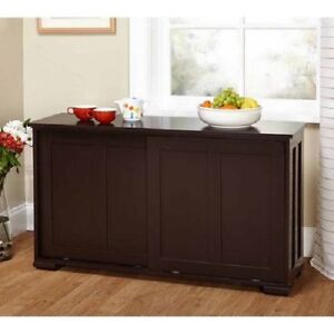 Stackable Storage Cabinet Espresso Wood Sliding Kitchen Buffet Doors EBay