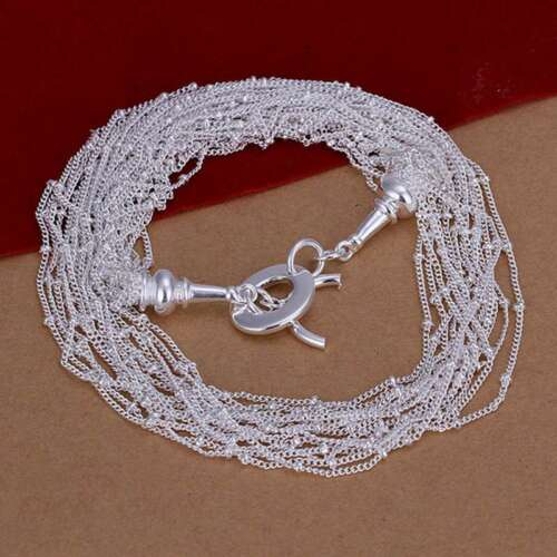 Fashion 925Sterling Solid Silver Jewelry Chains Necklace For Women N019