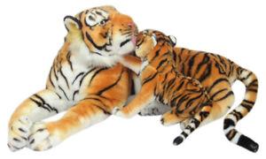 XXL-PLUSCHTIER-TIGER-mit-BABY-85-cm-gross-braun-Pluesch-Plueschleopard-Kuscheltier
