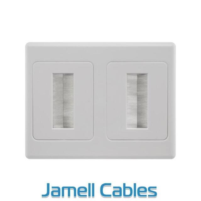 Audio Video Wall Plate Double Brush Universal Wallplate