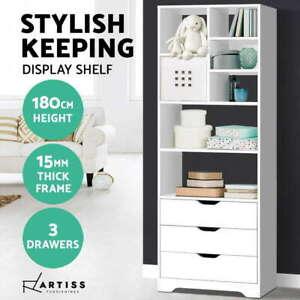 180cm Bookcase Display Shelf Storage Cabinet 7 shelves 3 drawers Display Shelf
