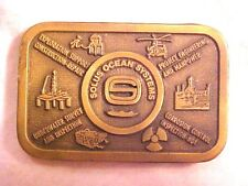 "Solus Ocean Systems Solid Brass Belt Buckle Mens 2"" X 3 1/4"" Hit Line USA  #H510"