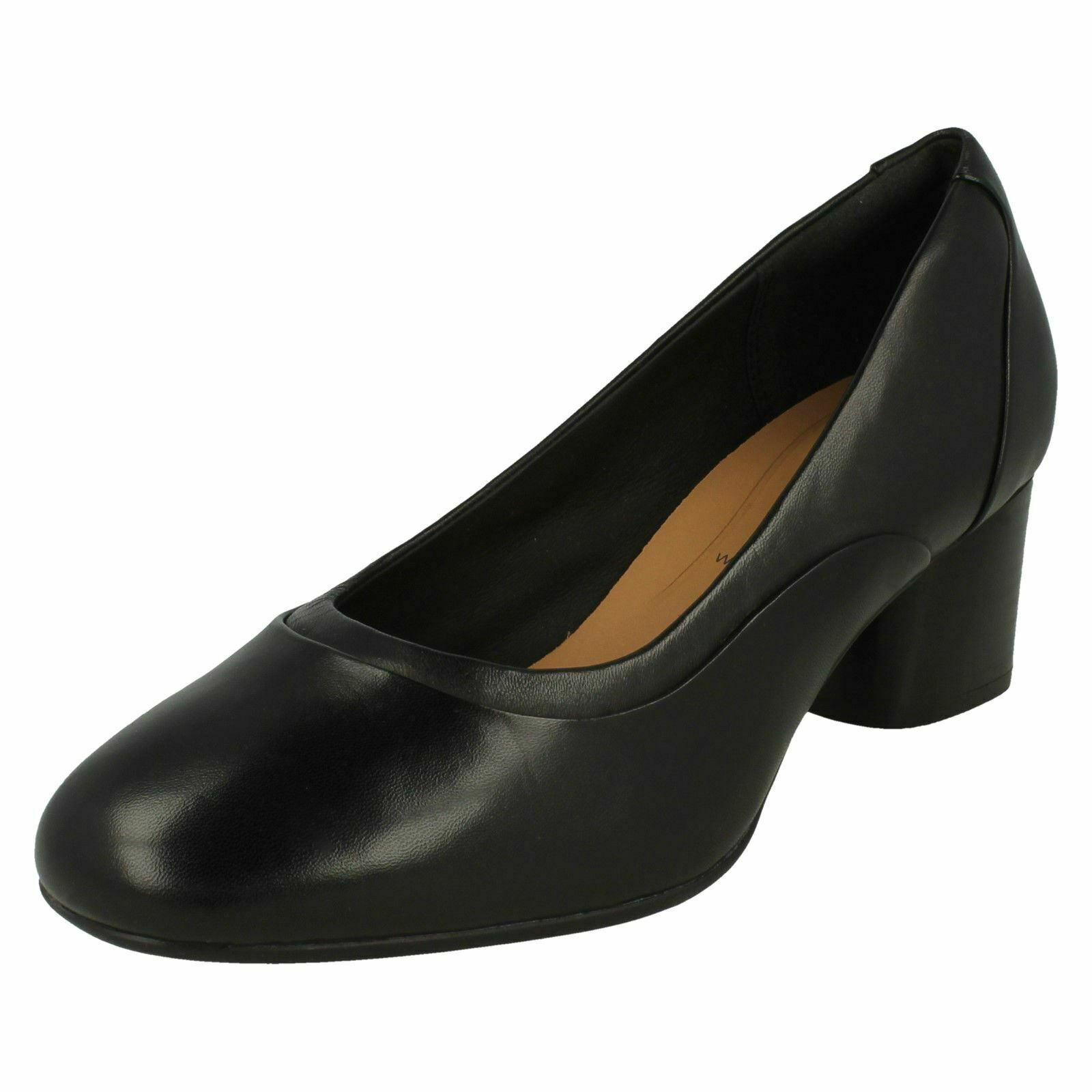 Ladies Clarks Smart Heeled Wide Fit 100% Leather Court shoes Un Cosmo Step
