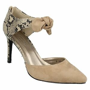 5ca7bcbfc4 Details about SALE LADIES F9746 SNAKE PRINT DETAIL BACK ZIP SLIM HIGH HEEL  COURT SHOES SPOT ON