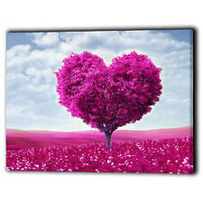 Pink Heart Tree Canvas Framed Floral - New Wall Art Print Gifts - Ready To Hang