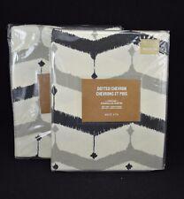 "West Elm Cotton Printed Drapes Panel Zig Zag Dotted Chevron 48x 84"" S/2 #16"