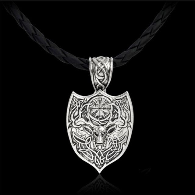 Men vintage norse viking amulet pendant necklace compass deer men vintage norse viking amulet pendant necklace compass deer talisman jewelry aloadofball Gallery