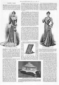 1899-Antique-Print-LADIES-FASHION-Tea-Gown-Lace-satin-Cashmere-Bed-Rest-187