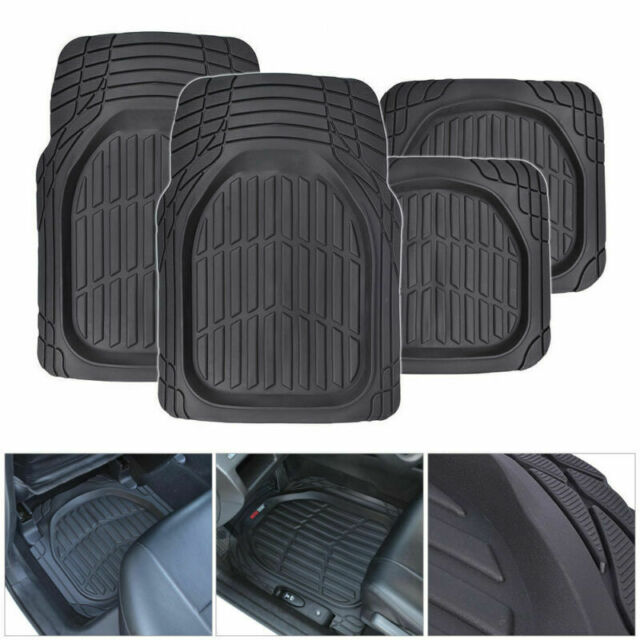 Us 4pc Universal Car Suv Rubber Floor Mats Heavy Duty Diy Trim