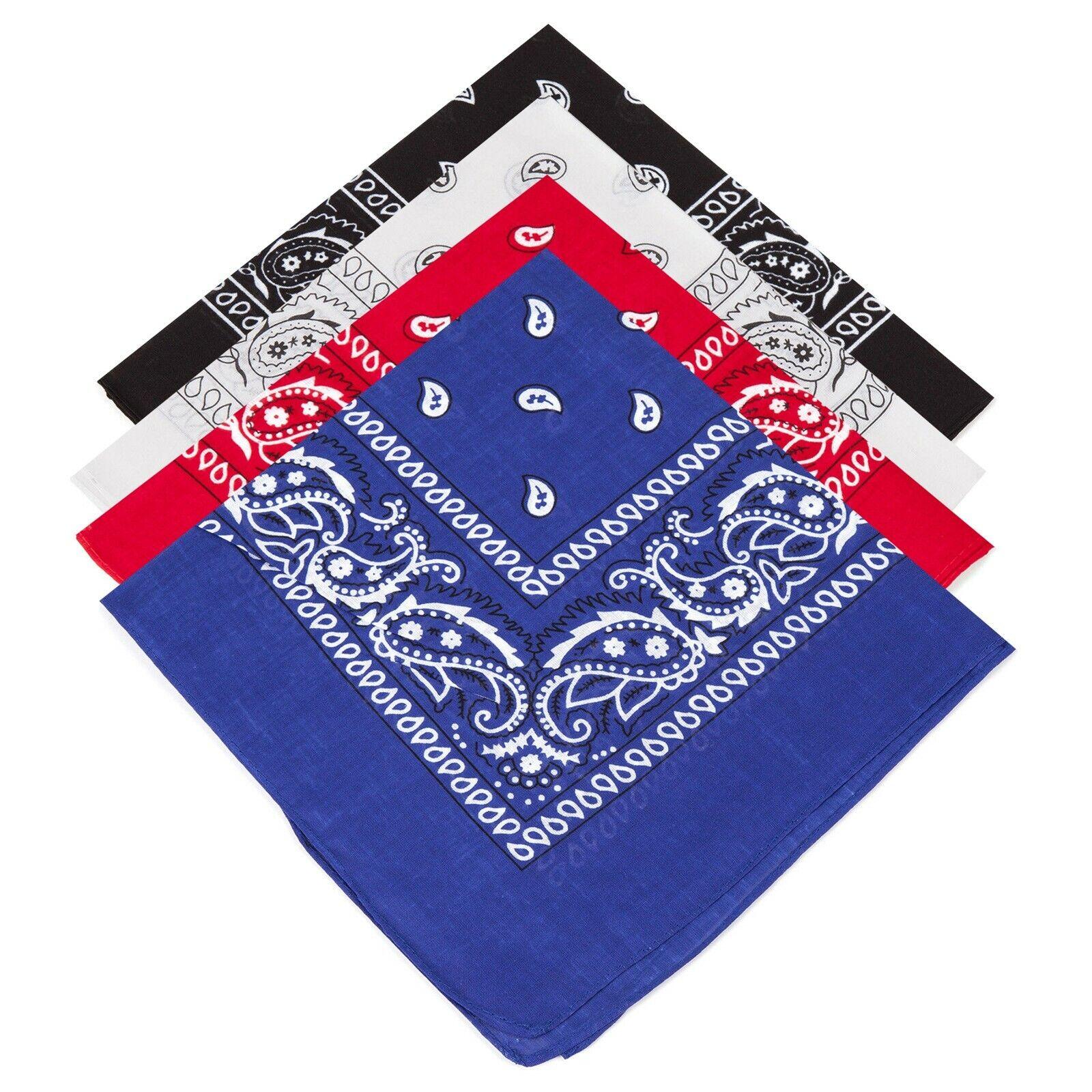 White Scarf Bandana Tie Black Red 4 Mens Ladies Kids Paisley Bandanas Grey