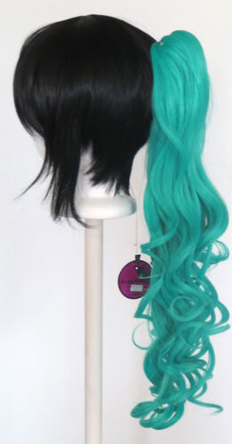 23/'/' Curly Pony Tail Clip Seafoam Green Blue Cosplay Wig Clip Only NEW