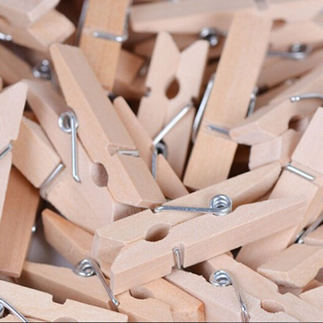 Lower Price with 100pcs Natural Wooden Clothes Photo Paper Peg Scrapbooking Clothespin Clips Household Supplies & Cleaning Laundry Supplies