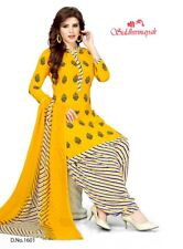 3pc Set Unstitched Salwar Kameez Synthetic Black & Yellow Suit Indian Pakistan