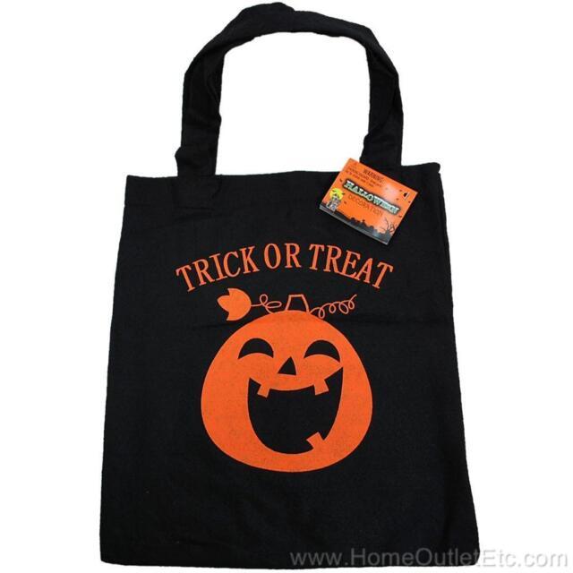 "Felt Trick or Treat Bag Halloween Pumpkin Bat Reusable Candy Carry Tote 10.5x12"""