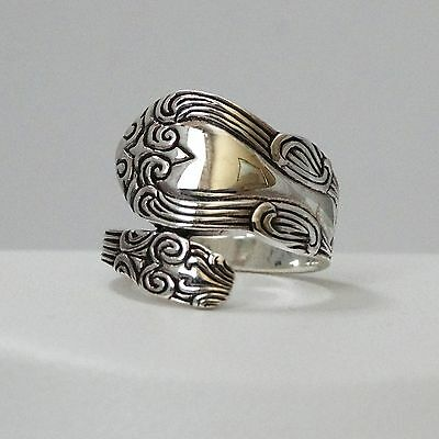 Fancy Spoon Ring - 925 Sterling Silver - Silver Spoon Handle Jewelry Utensil NEW