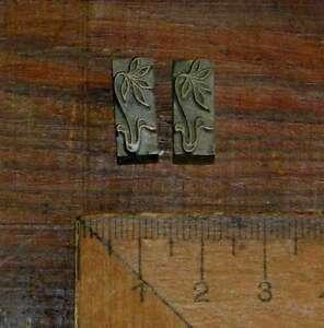 2x-Messing-Ornament-Buchbinden-Praegen-Buchbinder-Praegestempel-Blumen-Bluemchen