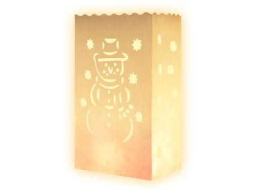 10 Stk Weiss Tischdeko Winter Schneemann Candle Bag Lichttüte Fackeln Feier NEU