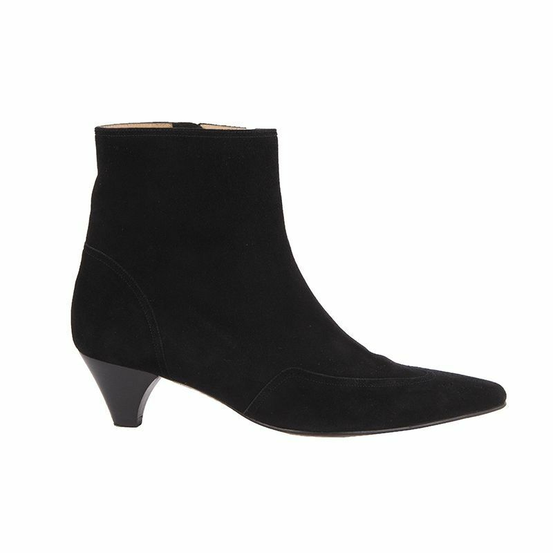 52478 auth UNUETZER black suede leather Ankle Boots Shoes 38