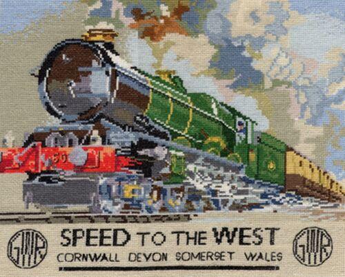 Velocidad Al Oeste Tren De Vapor Cartel puntada cruzada contada Kit o gráfico 14s Aida