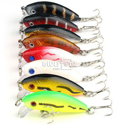 8pcs Small Multi Minnow Fishing Lures Bass Crankbait Tackle Hook 3.6g 5cm 1.97""